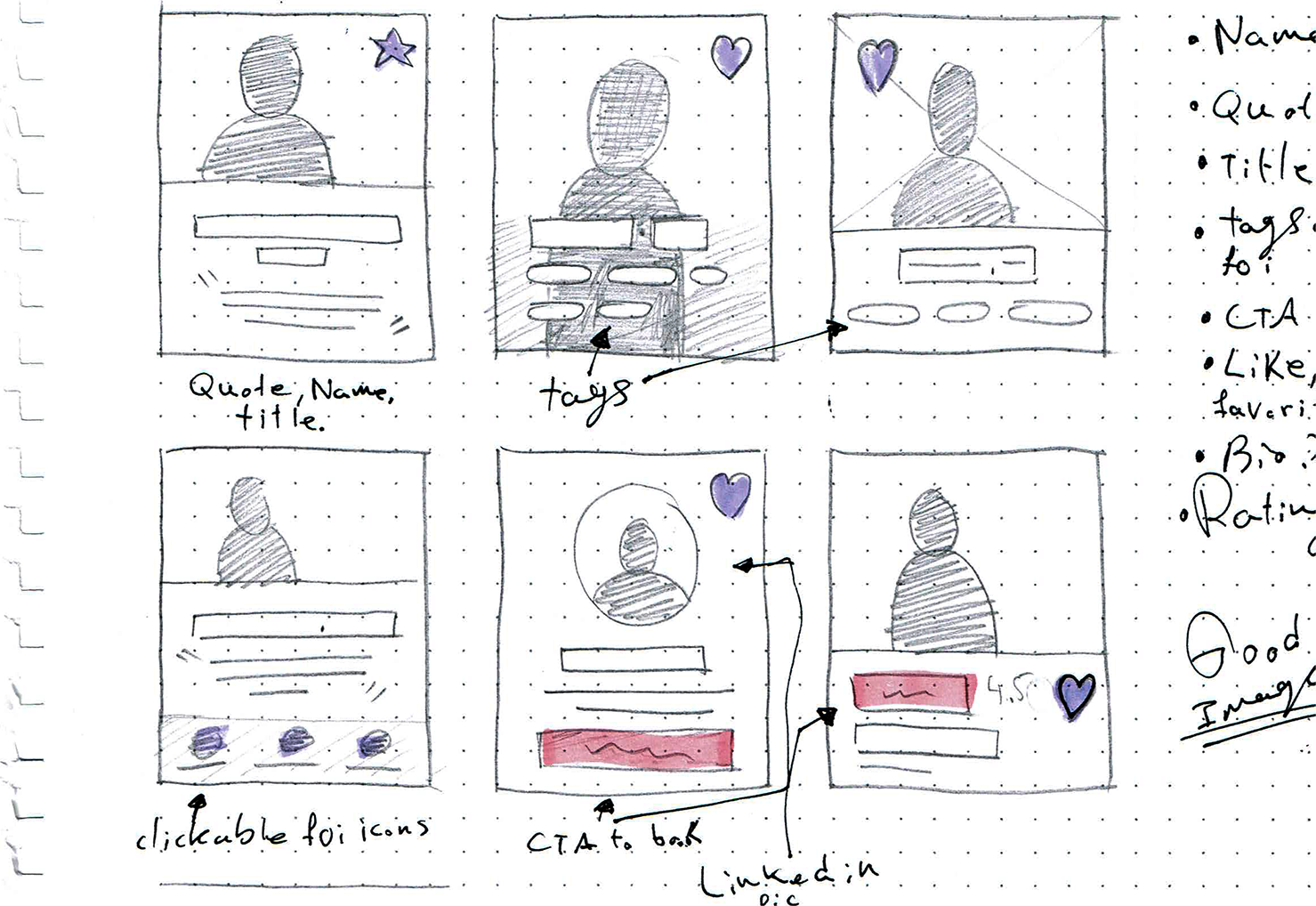 Watoobi: Mentor Card sketches